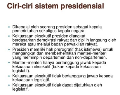 √ Ciri Sistem Pemerintahan Presidensial : Pengertian, kelebihan dan kekurangan