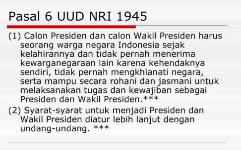 Syarat Menjadi Presiden