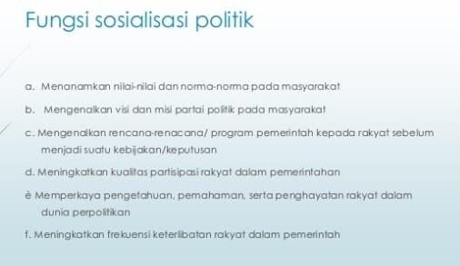 Fungsi Sosialisasi Politik