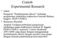 Contoh Penelitian Eksperimental