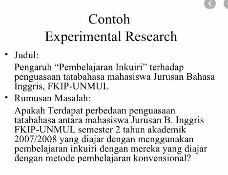 Contoh Penelitian Eksperimental Pengertian Karakteristik